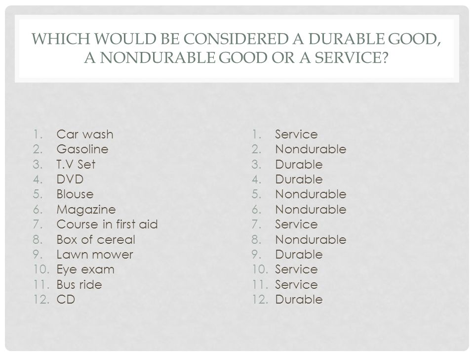Which would be considered a durable good, a nondurable good or a service