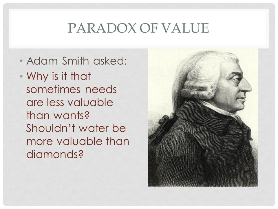 Paradox of value Adam Smith asked: