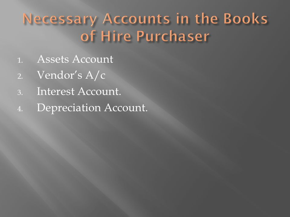 Necessary Accounts in the Books of Hire Purchaser