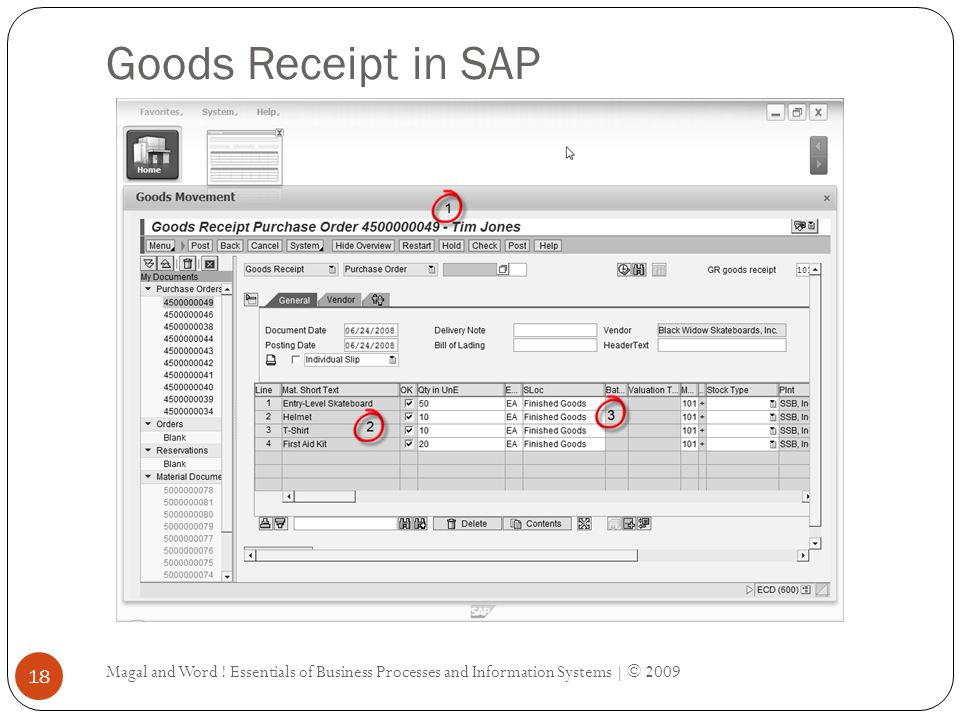 Goods Receipt in SAP Magal and Word .