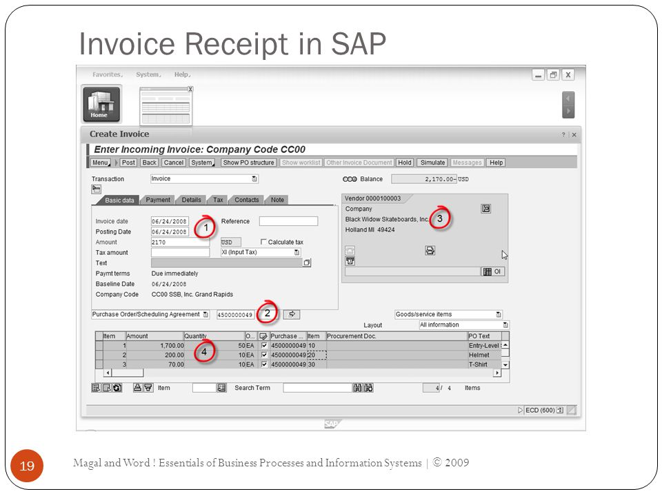 Invoice Receipt in SAP Magal and Word .