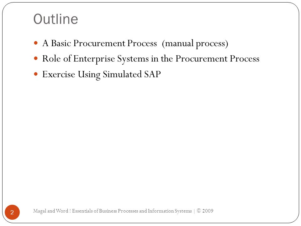 Outline A Basic Procurement Process (manual process)