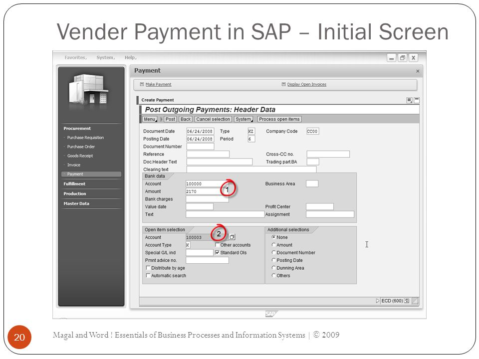 Vender Payment in SAP – Initial Screen