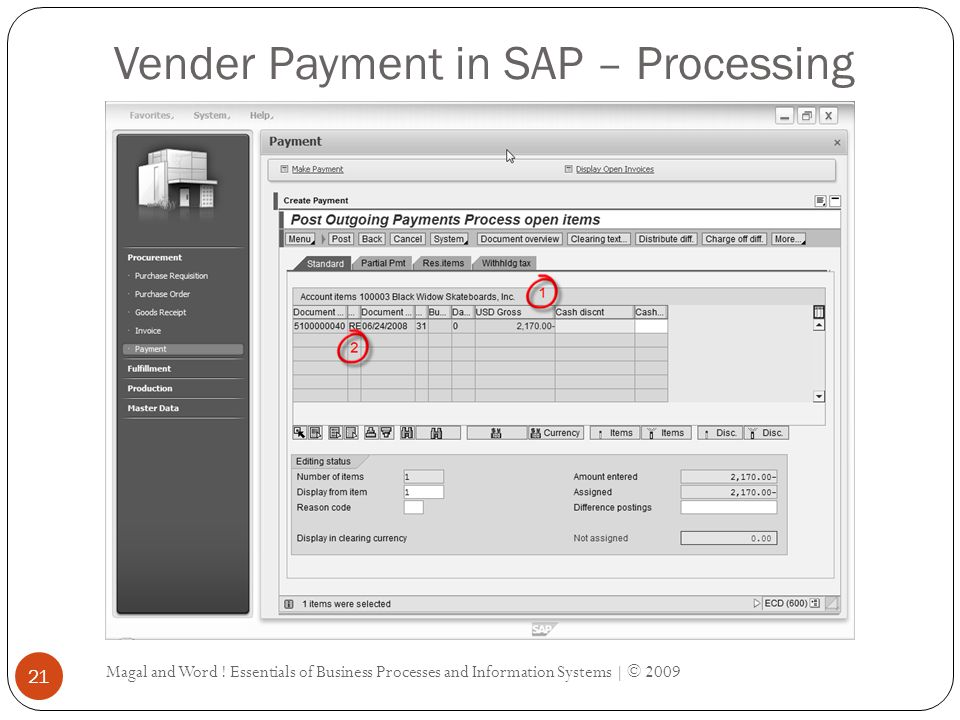 Vender Payment in SAP – Processing
