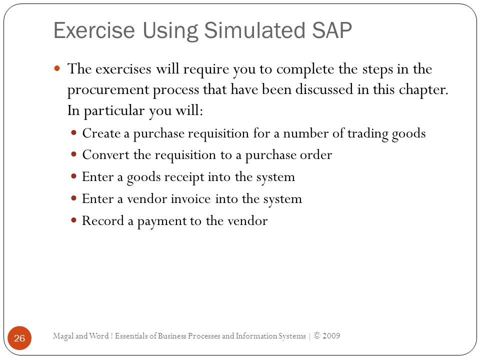 Exercise Using Simulated SAP