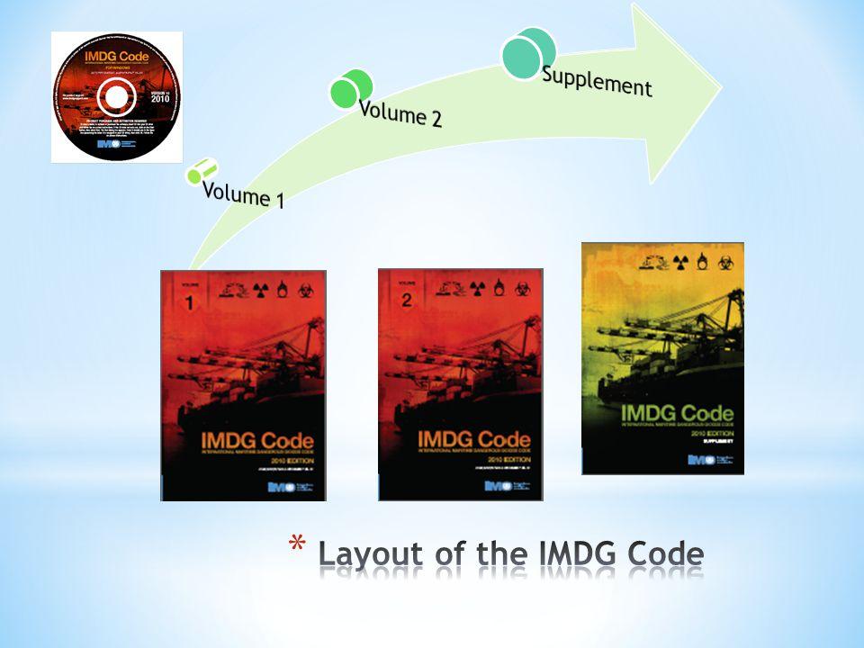 Layout of the IMDG Code Supplement Volume 2 Volume 1