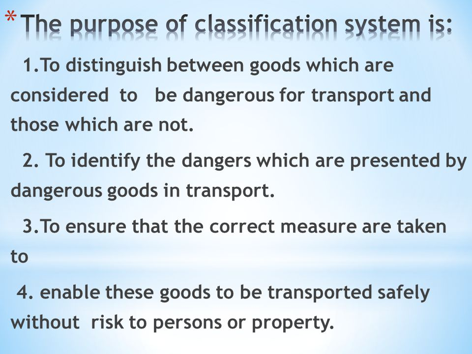 The purpose of classification system is: