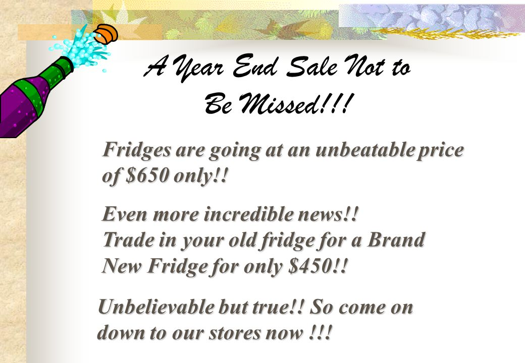 A Year End Sale Not to Be Missed!!!