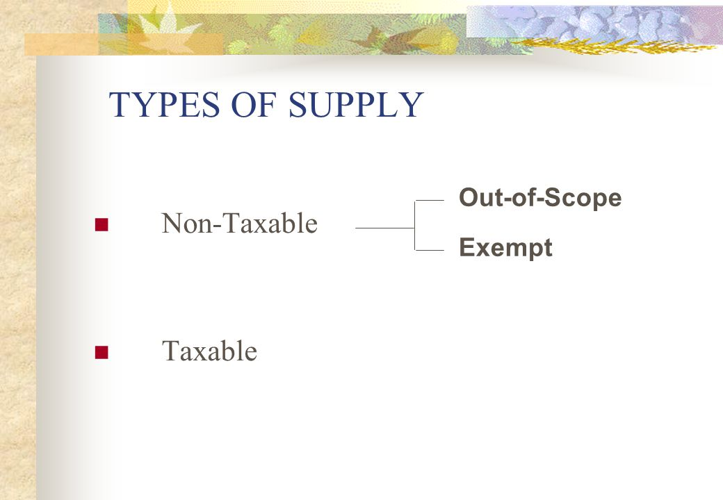 TYPES OF SUPPLY Non-Taxable Taxable Out-of-Scope Exempt Slide 12