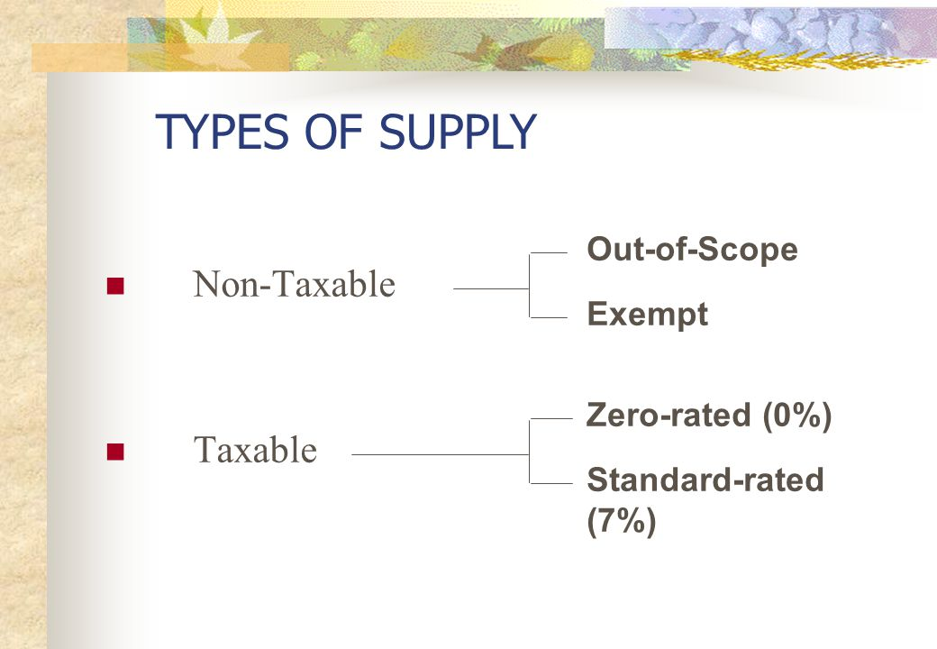 TYPES OF SUPPLY Non-Taxable Taxable Out-of-Scope Exempt