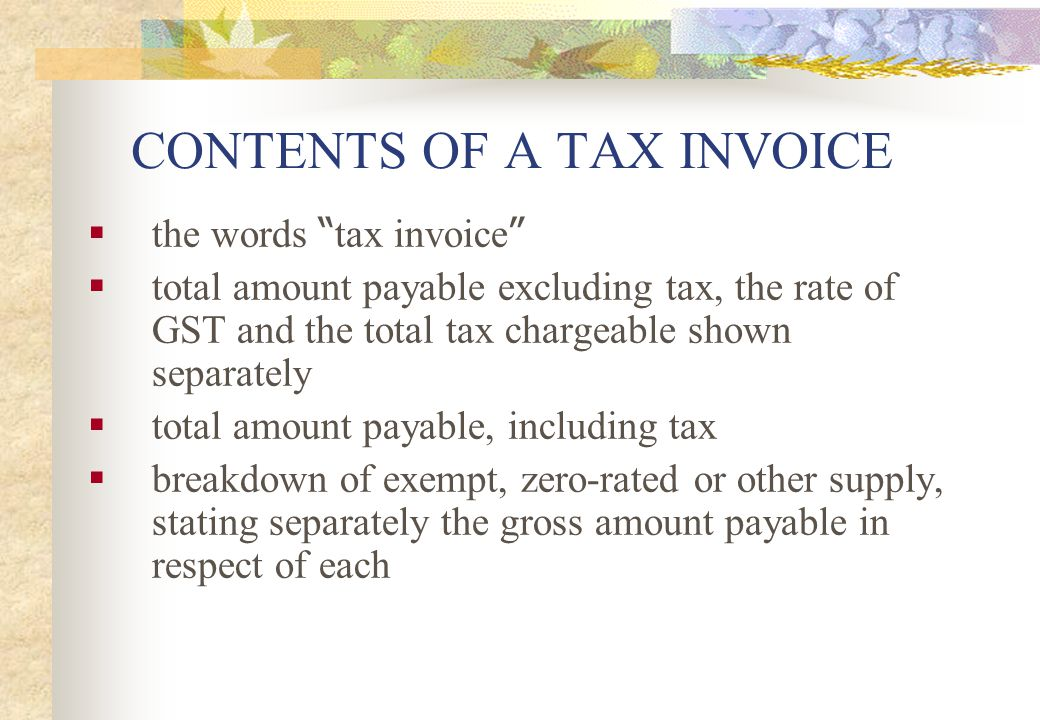 CONTENTS OF A TAX INVOICE