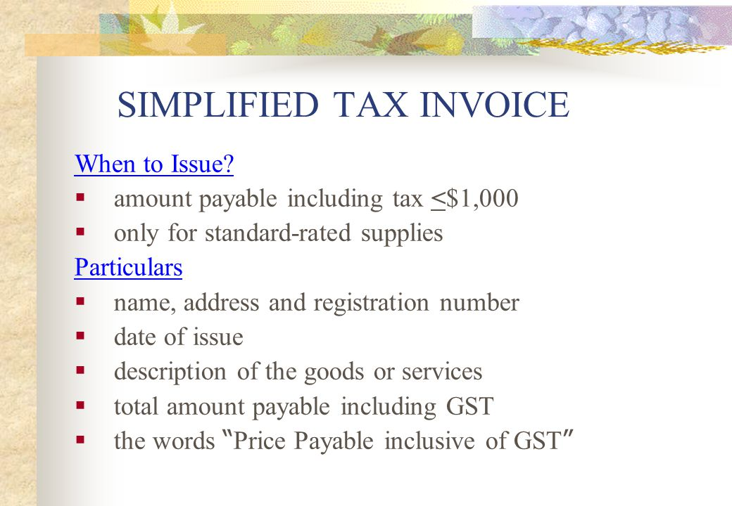 SIMPLIFIED TAX INVOICE