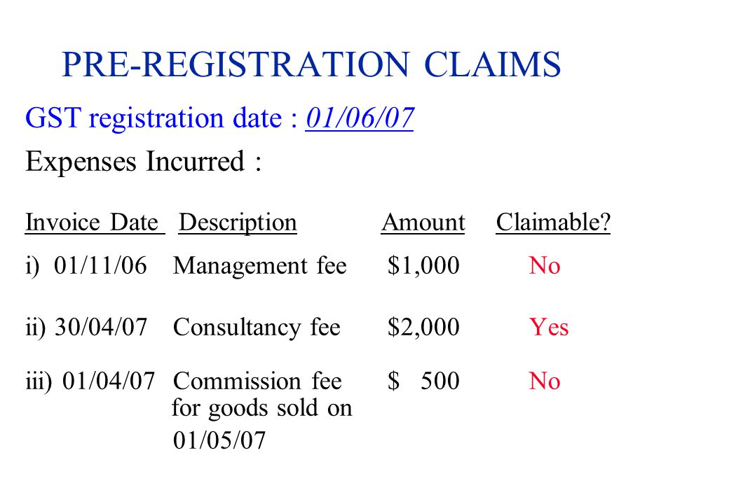 PRE-REGISTRATION CLAIMS