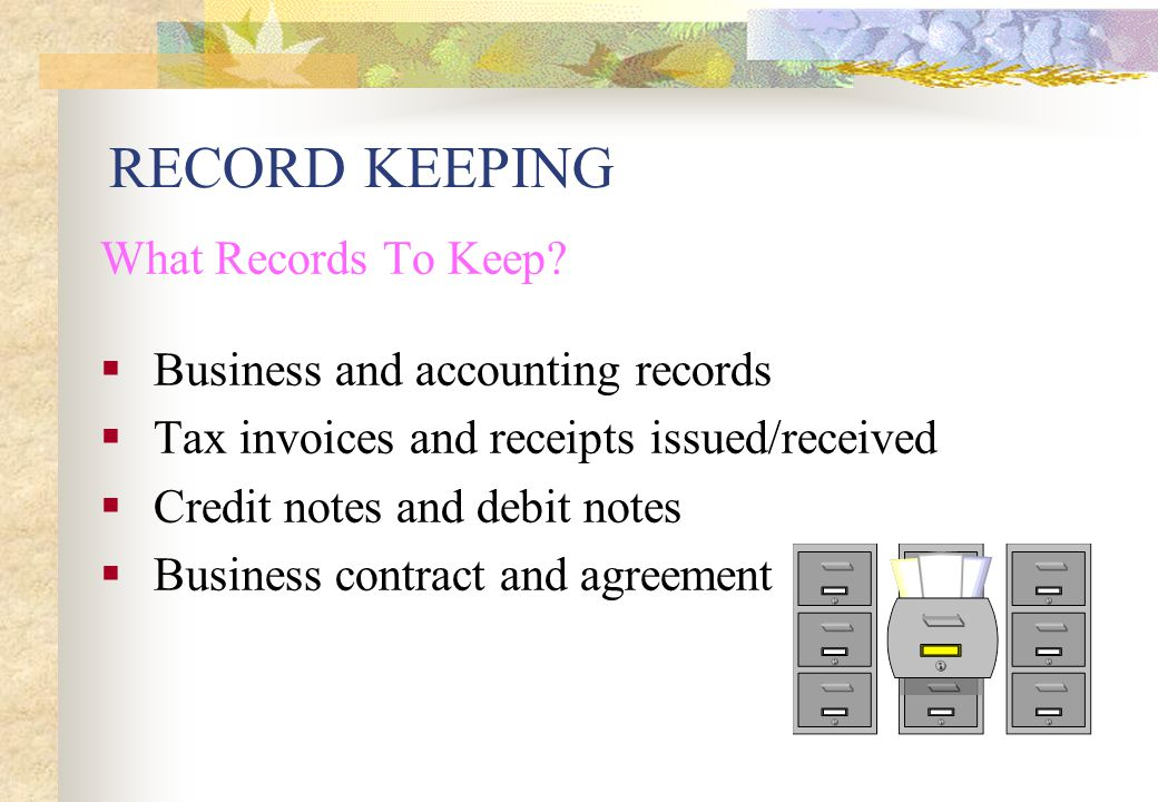 accounting record keeping Learn about the basic record keeping accounting categories you will need for your business knowing these makes it easier for you to set up an accounting system you understand your accountant and tax preparer need to be able to understand it as well.