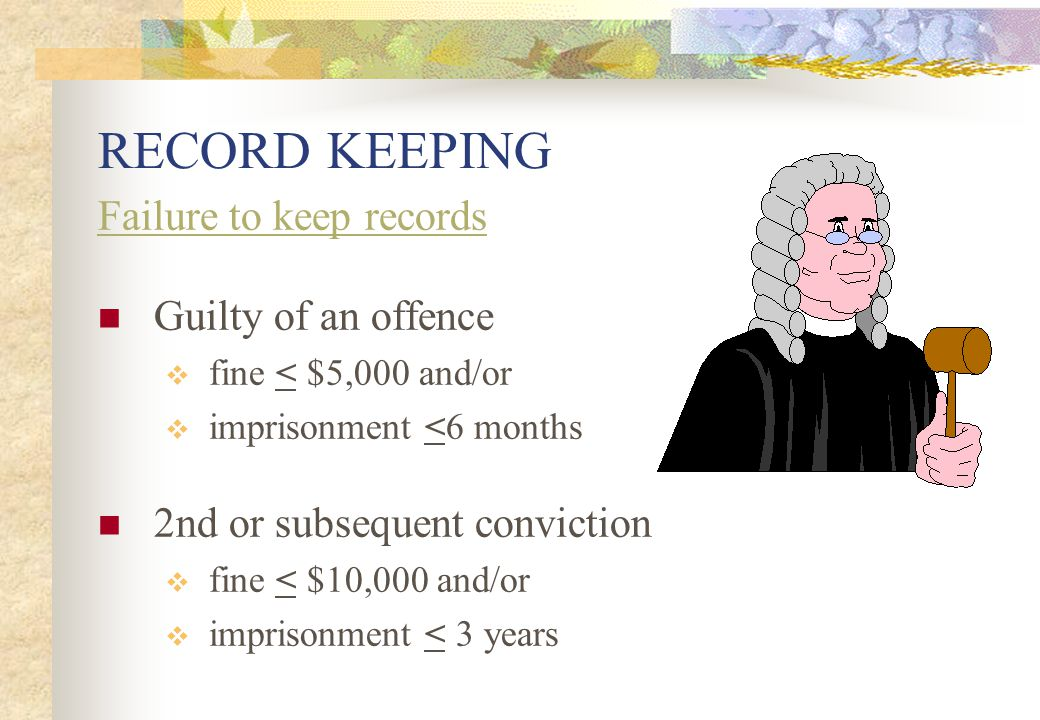 RECORD KEEPING Failure to keep records Guilty of an offence