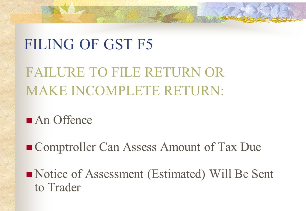 FILING OF GST F5 FAILURE TO FILE RETURN OR MAKE INCOMPLETE RETURN: