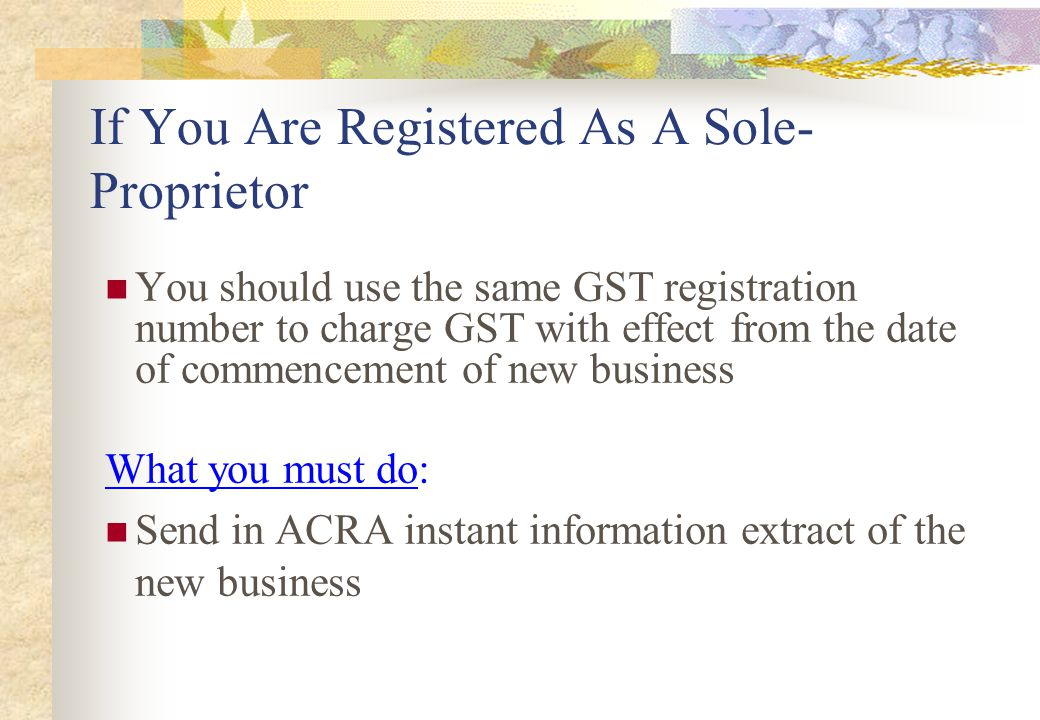 If You Are Registered As A Sole-Proprietor