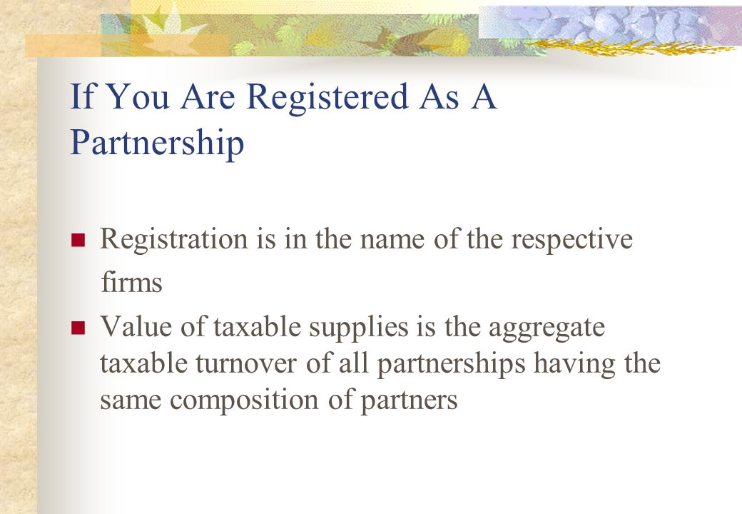 If You Are Registered As A Partnership