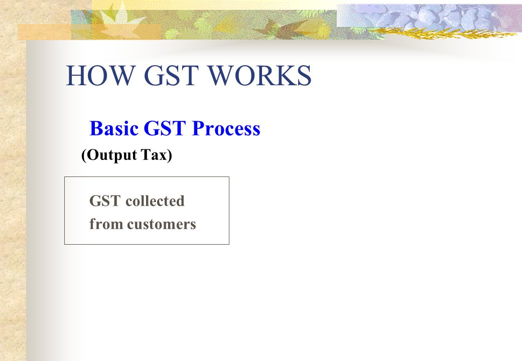 HOW GST WORKS Basic GST Process (Output Tax) GST collected