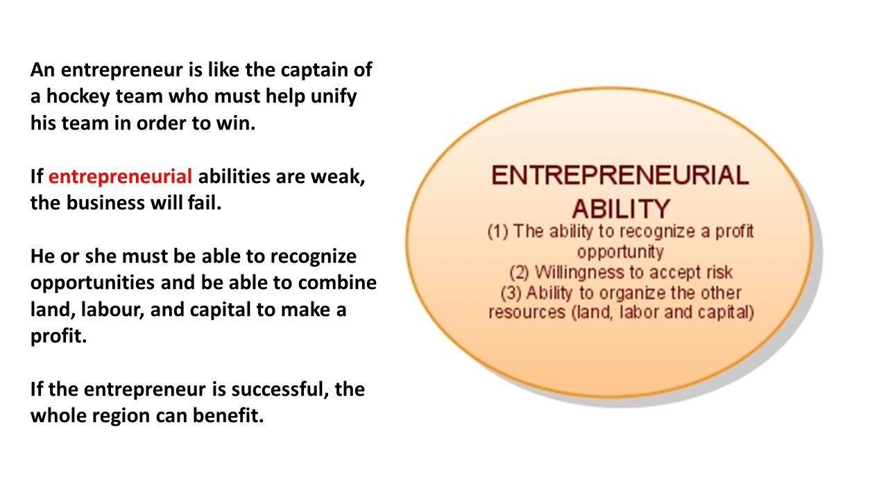 An entrepreneur is like the captain of a hockey team who must help unify his team in order to win.
