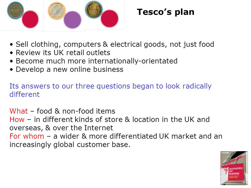Tesco's plan Sell clothing, computers & electrical goods, not just food. Review its UK retail outlets.