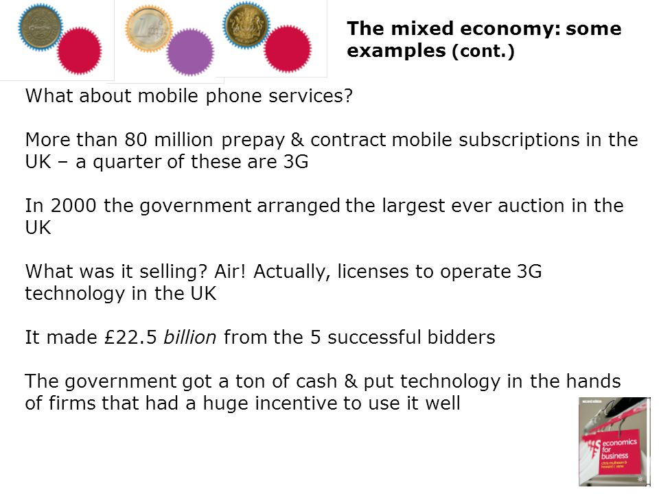 The mixed economy: some examples (cont.)