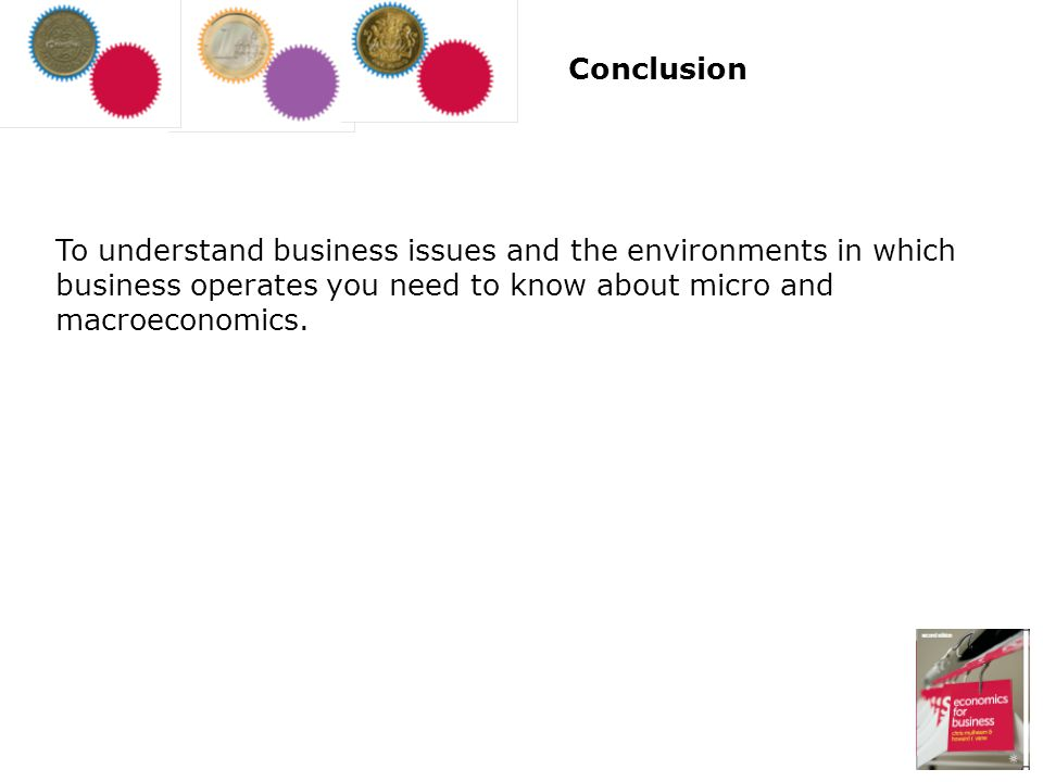 Conclusion To understand business issues and the environments in which business operates you need to know about micro and macroeconomics.