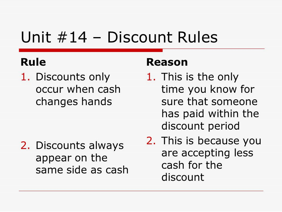 Unit #14 – Discount Rules Rule