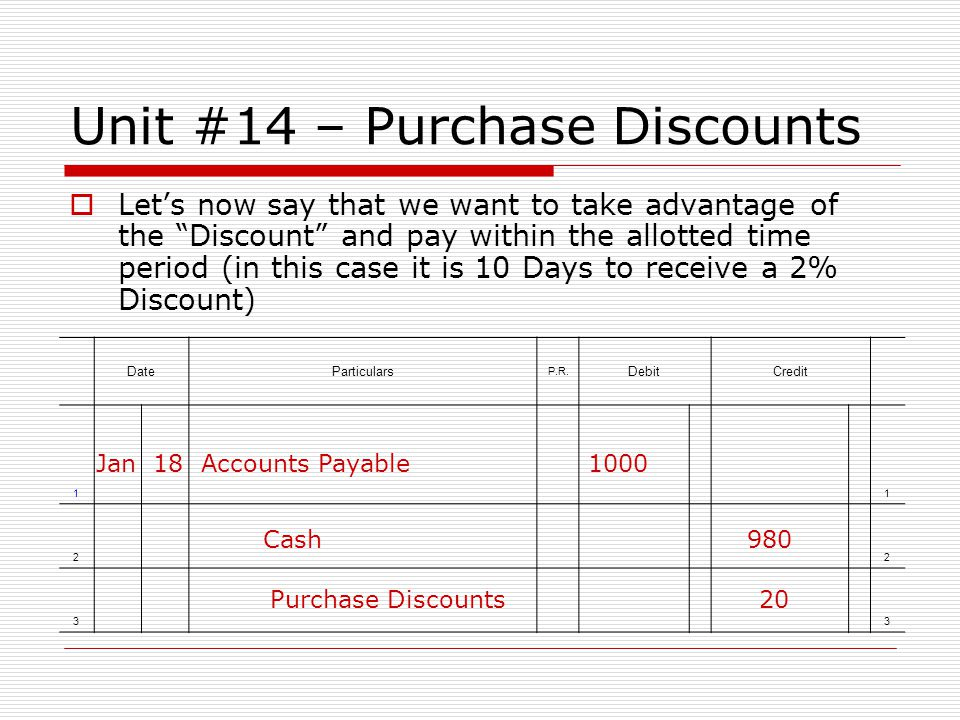 Unit #14 – Purchase Discounts