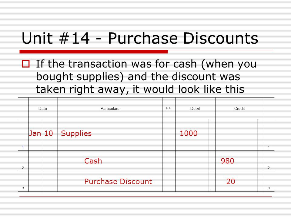Unit #14 - Purchase Discounts