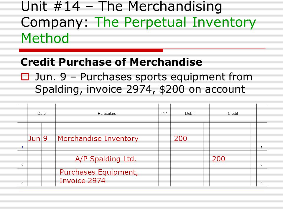 Unit #14 – The Merchandising Company: The Perpetual Inventory Method