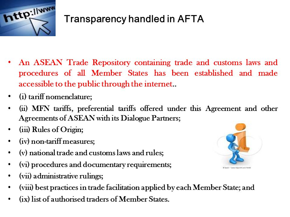 Transparency handled in AFTA