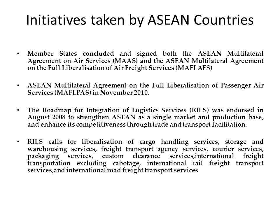 Initiatives taken by ASEAN Countries