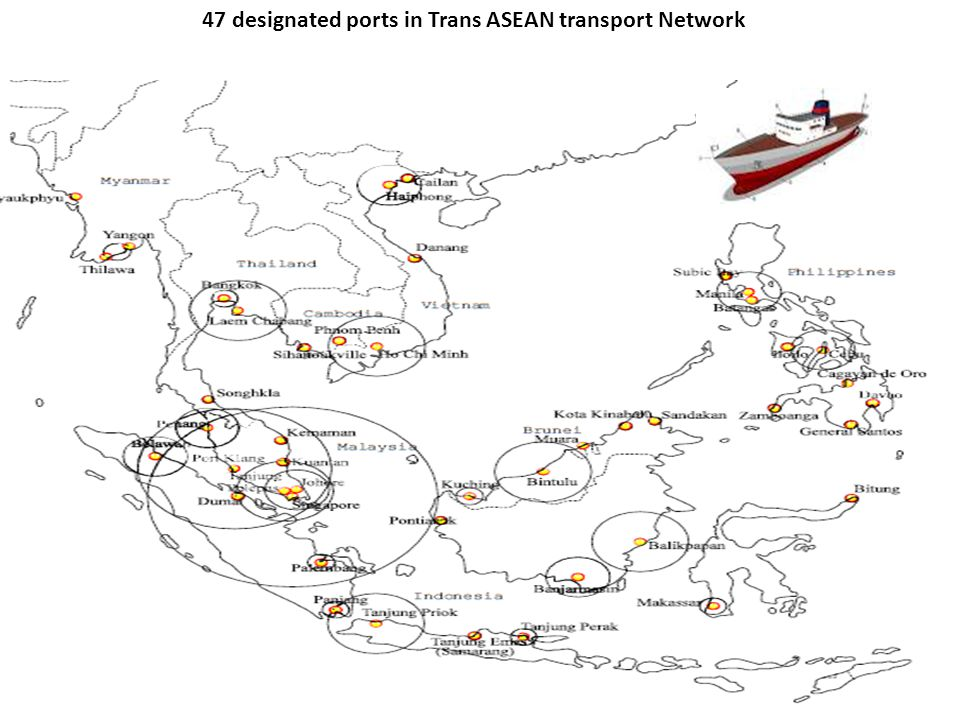 47 designated ports in Trans ASEAN transport Network