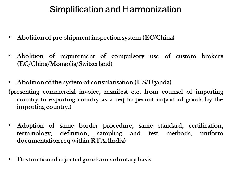 Simplification and Harmonization