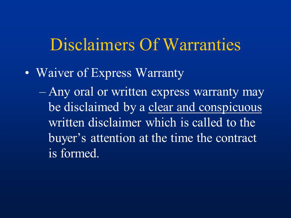 Disclaimers Of Warranties