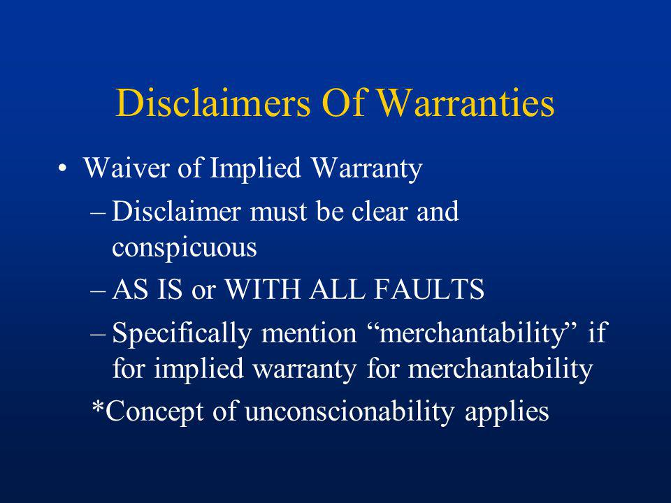 Disclaimers Of Warranties