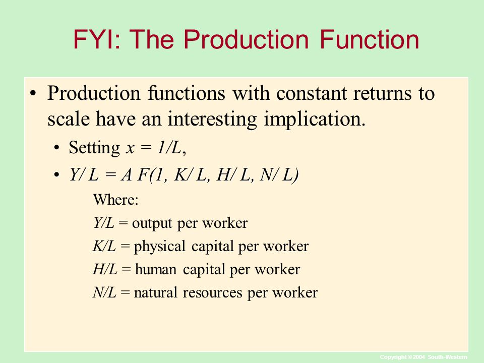FYI: The Production Function