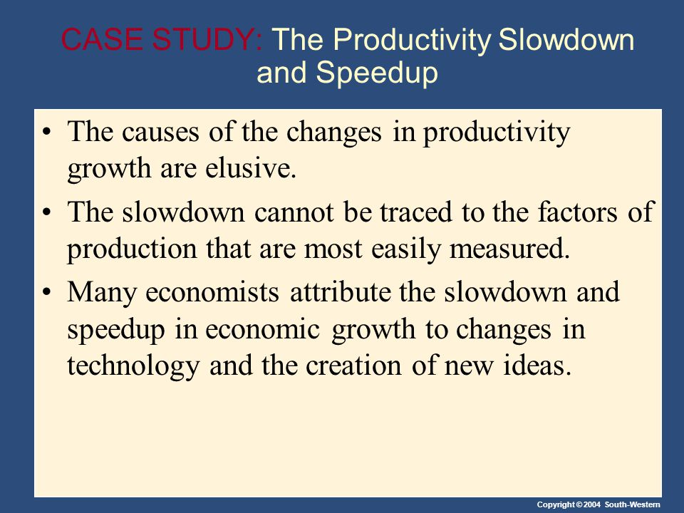 CASE STUDY: The Productivity Slowdown and Speedup