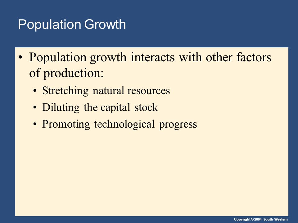 Population growth interacts with other factors of production:
