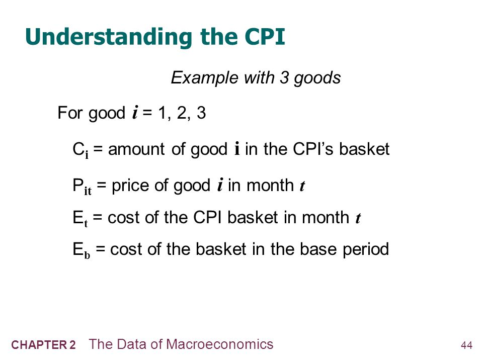 Understanding the CPI The CPI is a weighted average of prices.