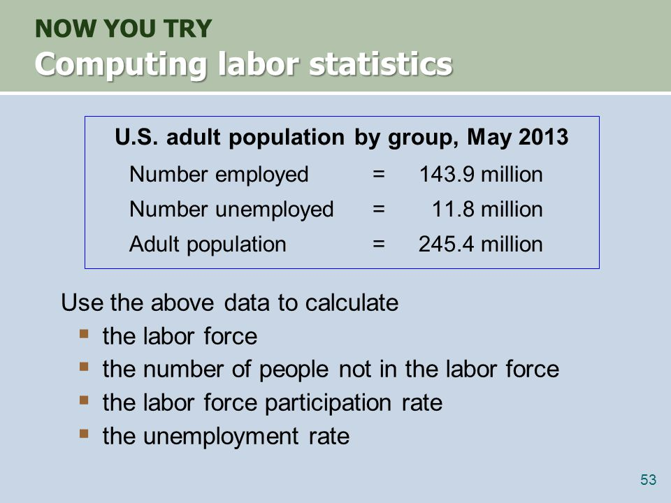 not in labor force NILF = POP – L = 245.4 – 155.7 = 89.7