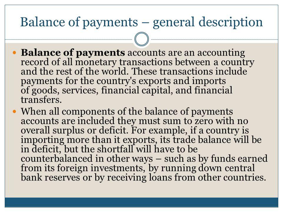 Balance of payments – general description