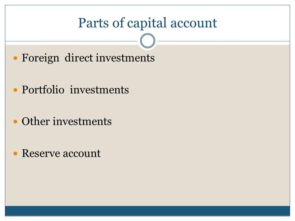Parts of capital account