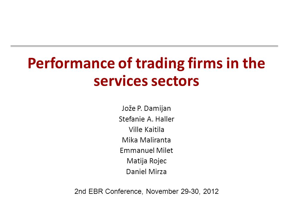 Performance of trading firms in the services sectors