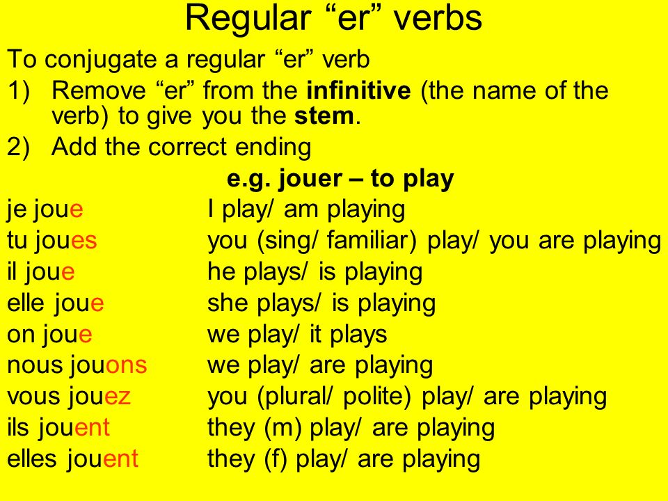 Regular er verbs To conjugate a regular er verb