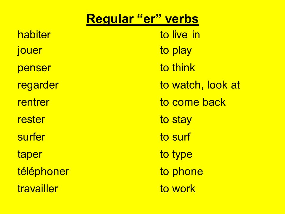 Regular er verbs habiter to live in jouer to play penser to think