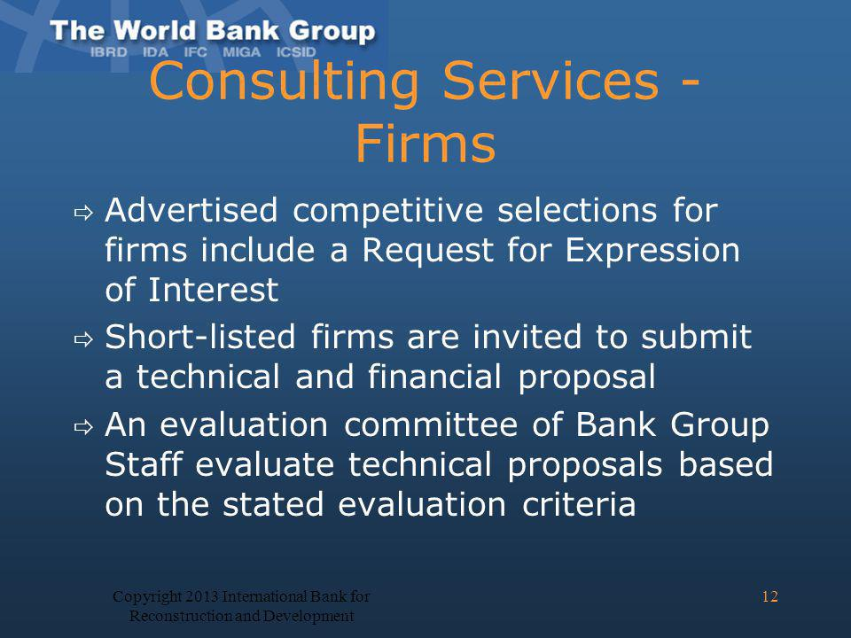 Consulting Services - Firms