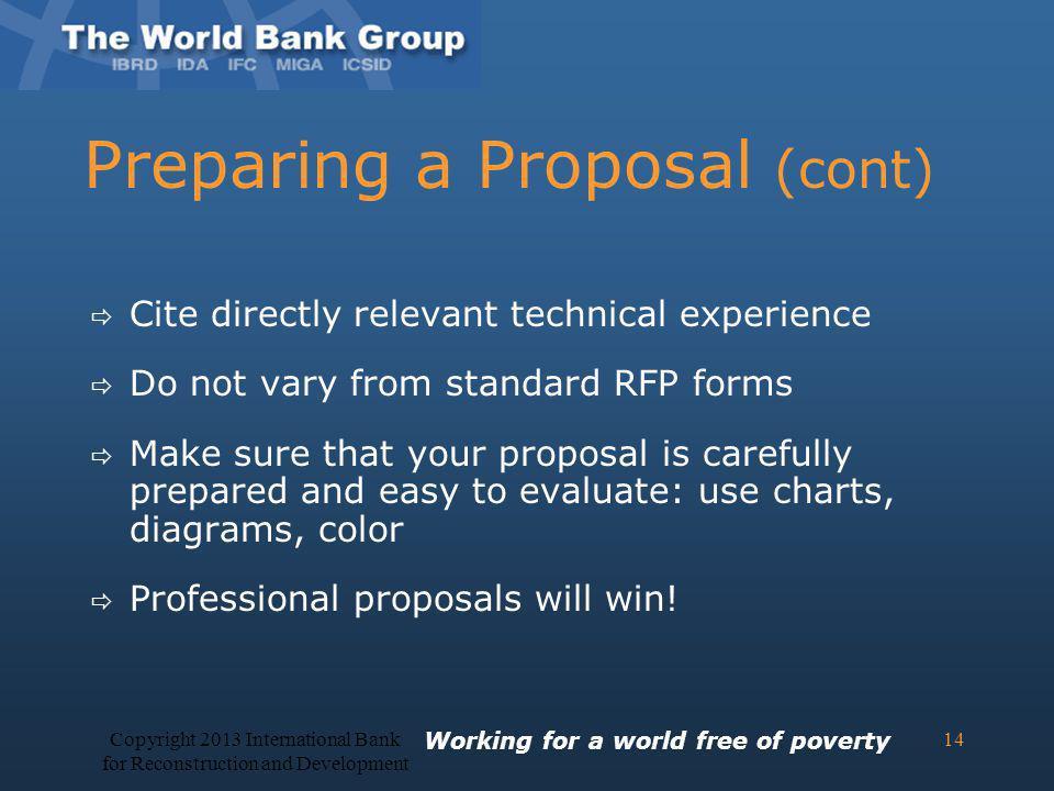 Preparing a Proposal (cont)