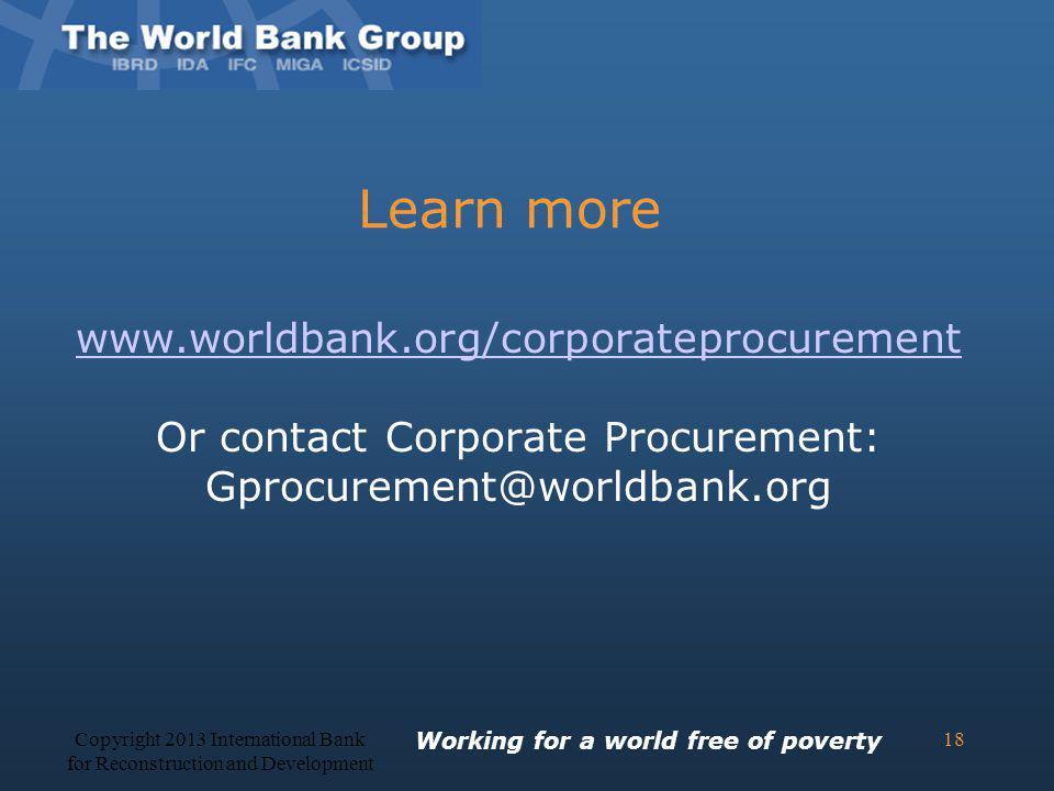 Learn more www.worldbank.org/corporateprocurement